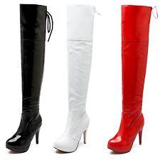 Over Knee Boots High Heels Stiletto Heel  Wet Look Crossdresser Shoes size 1-8