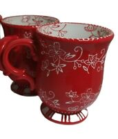 Set Of 2 Temp-tations Footed 14oz Coffee or Cocoa Mugs red  Floral Lace