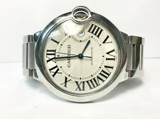 Cartier Ballon Bleu 3001 Silver Roman Dial Stainless Steel Automatic Men's Watch