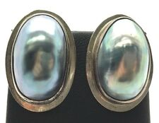 14K Yellow Gold Sterling Silver Handcrafted Modernist Mother Of Pearl Earrings