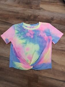 Bright Tie Dye Knotted crop Top. Size S. Excellent Cond