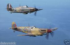 Royal Air Force RAF Hawker Hurricane & Spitfire RAF Coningsby 12x8 Inch Photo