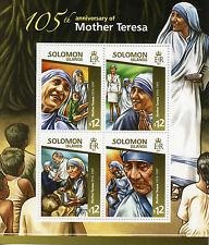 Solomon Islands 2015 MNH Mother Teresa 105th Anniv 4v M/S Popes