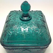 Tiara Exclusive Glassware Green Candy HONEY BEE HIVE  Dish With Lid