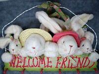 Hanging Coat Rack Wood Welcome Friends Spring Bunnies Easter Decor