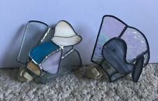 2 Vintage Stained Glass Night Lights (Whale & Child)