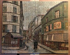 VINTAGE WOODEN JIGSAW AFTER A PAINTING BY UTRILLO - 'LA RUE SEVESTE' - COMPLETE