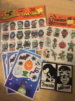 Vintage 1980s Halloween Stickers Lot Unique puffy monsters Dracula Wolfman Witch