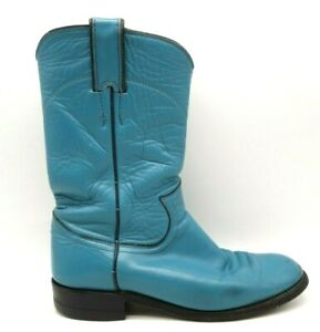Justin Teal Leather Classic Cowboy Western Roper Boots Shoes Women's 5.5 B