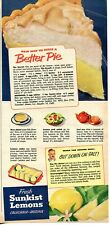 1953 Print Ad of Sunkist Lemons Meringue Pie Recipe