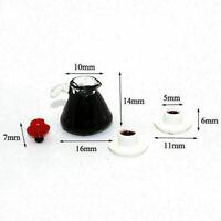 1/12 Puppenhaus Miniatur Geschirr Harz Coffee Pot + Zwei A0G4 C3P1 Tassen O2L4
