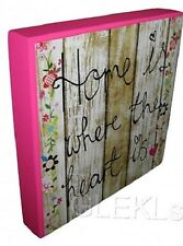 Wall Plaque Home is Where The Heart is Picture Block Pink Square Flower Heart On