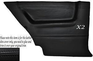BLACK LEATHER 2X REAR DOOR CARD SKIN COVERS FITS VW GOLF MK2 JETTA 83-92 3DR