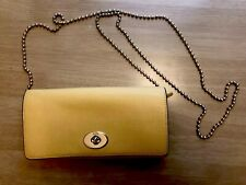 COACH Yellow Leather Wallet With Removable Crossbody Chain MSRP $150