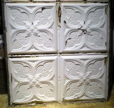 """SALE 24"""" x 24"""" Antique Victorian Ceiling Tin Tile Gothic Quatrefoil Flower Chic"""