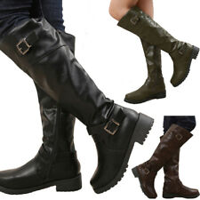 Women Flat Low Heel Boots Knee High Buckle Leg Calf Motorcycle Punk Riding Shoes
