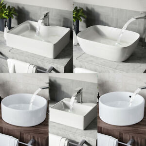 Small Large Bathroom Ceramic Basin Sink Hand Wash Counter Cloakroom Bowl White