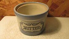 Antique Blue & White Stoneware Butter Crock