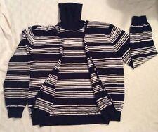 womens Evan Picone Black White Striped Cardigan Turtleneck Sweater Twin Set  XL