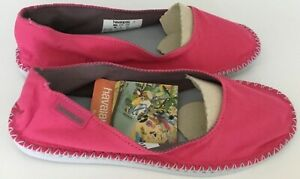 HAVAIANAS ESPADRILLES SLIP ON CANVAS-  PINK - SIZE UK 6 BRAND NEW IN THE BOX