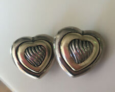 David Yurman 18K Gold / Sterling Silver Heart Cable Earrings Authentic