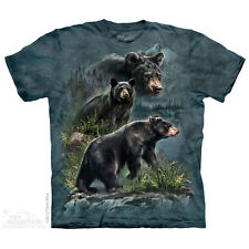 THE MOUNTAIN THREE BLACK BEARS ANIMALS NATURE FOREST PORTRAIT T TEE SHIRT S-5XL