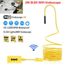 2m WiFi Endoscope Borescope 8mm Inspection HD 1200P 8LED Camera For iOS Android