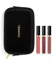Chanel Holiday 2020 Beauty Set Make up Pouch Bag & Full Size Lipgloss Trio