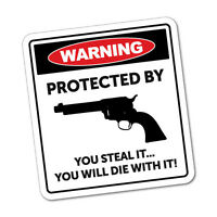 Warning Protected By Sticker Funny Car Stickers Novelty Decals #5476K