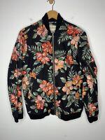 Denim Supply Ralph Lauren Small Black Floral Bomber Jacket Island RRL Hawaii Red