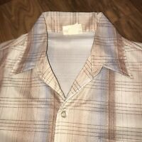 Vtg 60s 70s Plaid LEADER of CALIFORNIA Mens MEDIUM Polyester Disco Button shirt