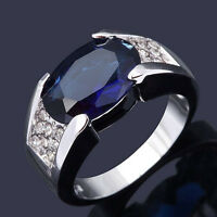 Size 8,9,10,11 Jewelry Man's AAA Blue Sapphire 18K White Gold Filled Ring Gift