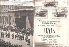 TARGA FLORIO ITALA 1921 ILLUSTRAZIONE ITALIANA HARLEY XXVI LEGISLATURA BATTISTI