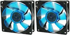 2 x Gelid Solutions WING 8 BLU UV 80mm Ultraviolet reattiva silenziosa Case Fan