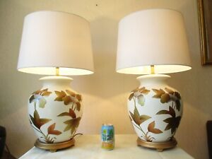 LARGE PAIR OF GILT CHINESE TABLE LAMPS WITH NEW AND SEALED SHADES 11
