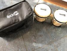 Handtrommel Bongo Drum Set RockJam Holz Musikinstrument Kuhhaut 8 Zoll Tasche