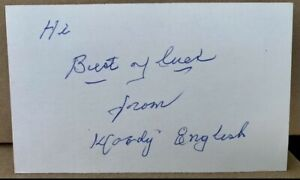 WOODY ENGLISH signed autographed 3x5 index card baseball Auto Chicago Cubs