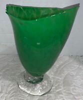 Vintage Blown Glass Vase Art Widemouth Vase Signed Dated 75