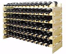 72 Bottles Stackable Wine Display Storage Rack Pine Wood Alternative to Cellar