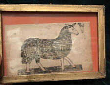 Antique American? Folk Art Ink Drawing Block Print Sheep Crude Interesting