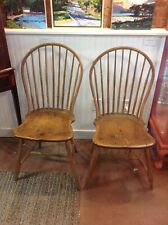 Antique American New England Bow Back Windsor Chairs Bamboo Pair c. 1790-1810