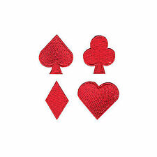 Playing Cards Red Suits Set Iron on Embroidered Applique Patch
