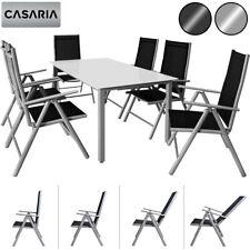 Sitzgruppe Aluminium Sitzgarnitur Alu Gartenmöbel Essgruppe Garten Tisch Set 6+1