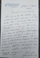 1922 144) LETTERA AUTOGRAFA NEUROLOGO E PSICHIATRA BENEVENTANO LEONARDO BIANCHI