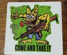 AR-15 Come and Take It 2ND AMENDMENT Firearm GREEN Vinyl Decal Sticker Rat Fink
