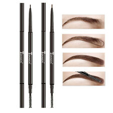 Super Fine Eyebrow Pencil Dual Ended With Eyebrow Brush Waterproof Eyebrow Pen