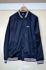 Men's STUSSY WORLD TRIBE NAVY BOMBER JACKET - SIZE MEDIUM