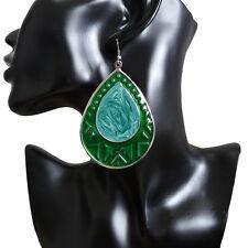 Metal Teardrop Dangle Drop Hook Earrings New Vintage Womens Bohemian Big Green
