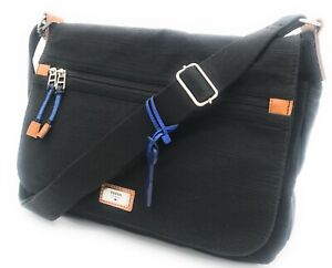 Fossil Extra Large Multipurpose Textured Fabric Messenger Bag Black NWT MSRP$128