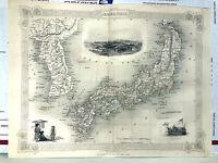 JAPAN & KOREA YEDO BARGE SHIP ~ 1842 COLOR RAPKIN TALLIS Map Engraving Art Print
